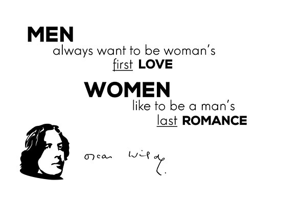men first love, women last romance - Oscar Wilde by razvandrc