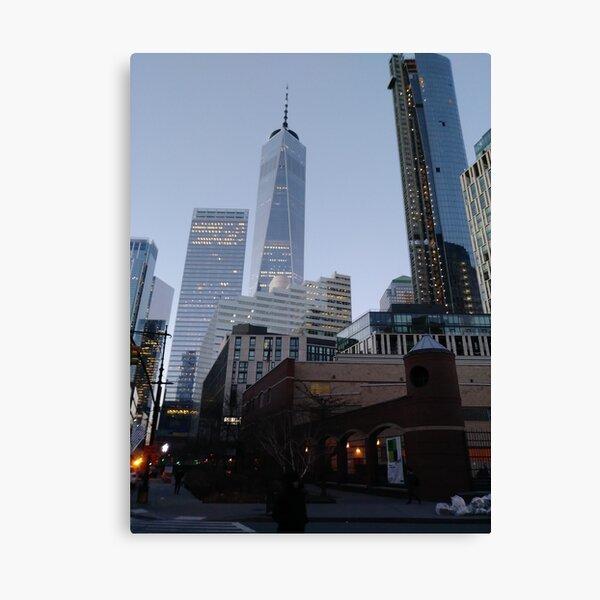 Street, City, Buildings, Photo, Day, Trees, New York, Manhattan, Brooklyn Canvas Print