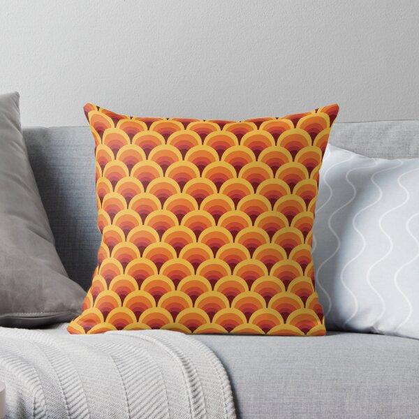 Orange Wellenverlauf Retro Muster Dekokissen