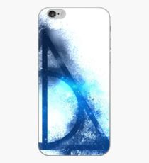 Galaxy hallows blue (half sand explosion) - wand, cloak, stone iPhone Case