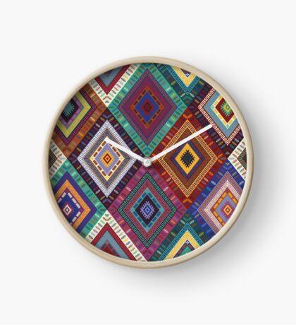 Kilim Diamonds - Renaissance blue and green - Bohemian chic pattern by Cecca Designs Clock