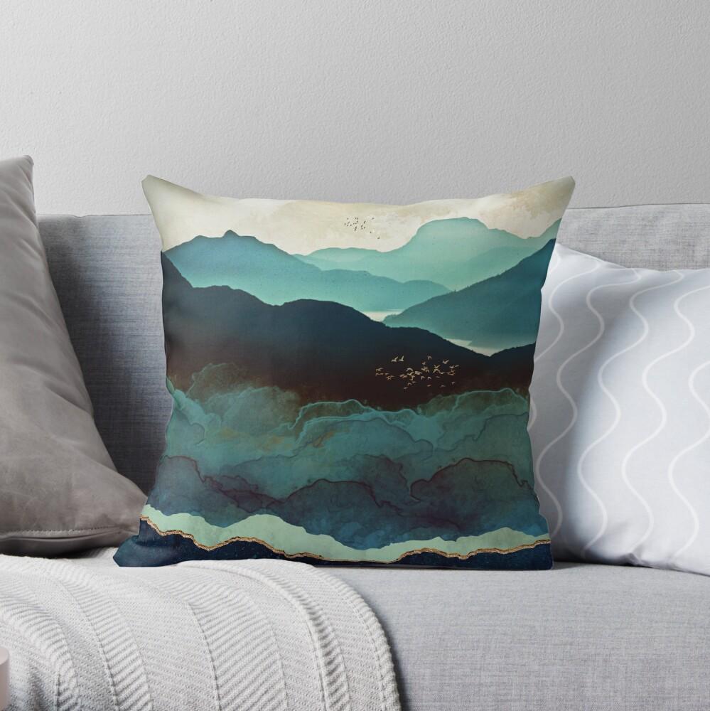 Indigo Mountains Throw Pillow