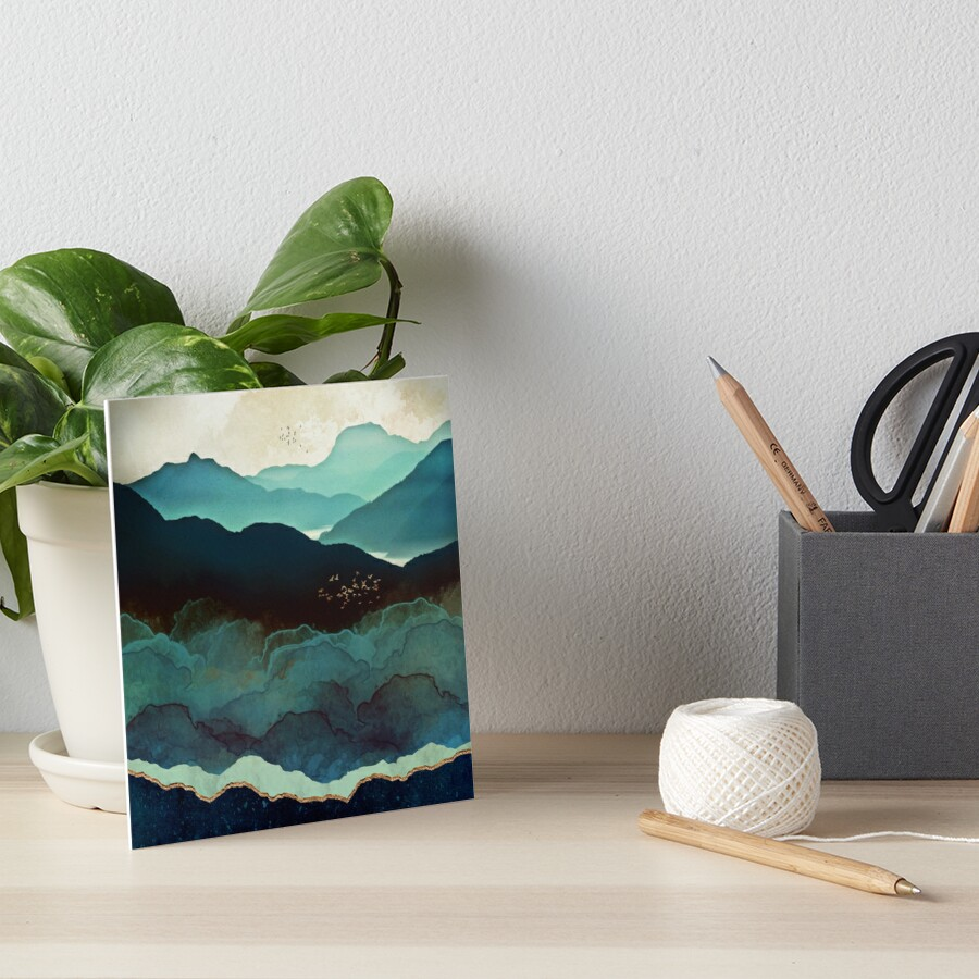 Indigo Mountains Art Board Print