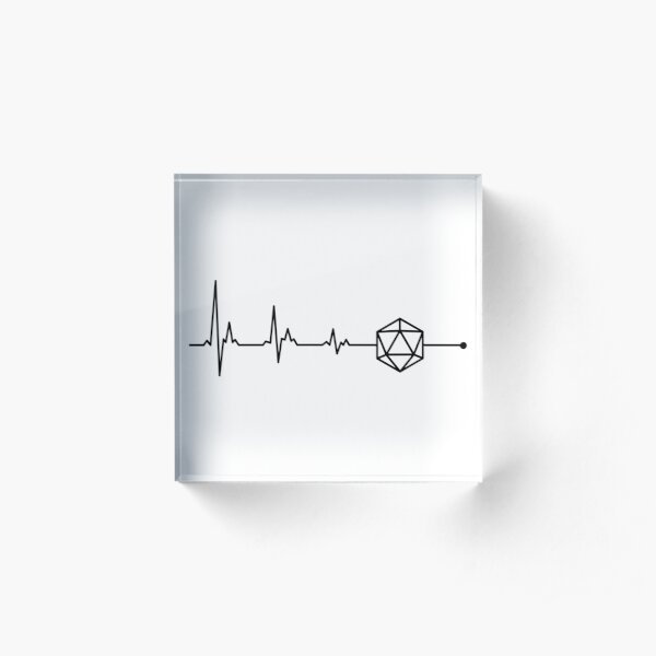 Heartbeat D20 Dice Acrylic Block
