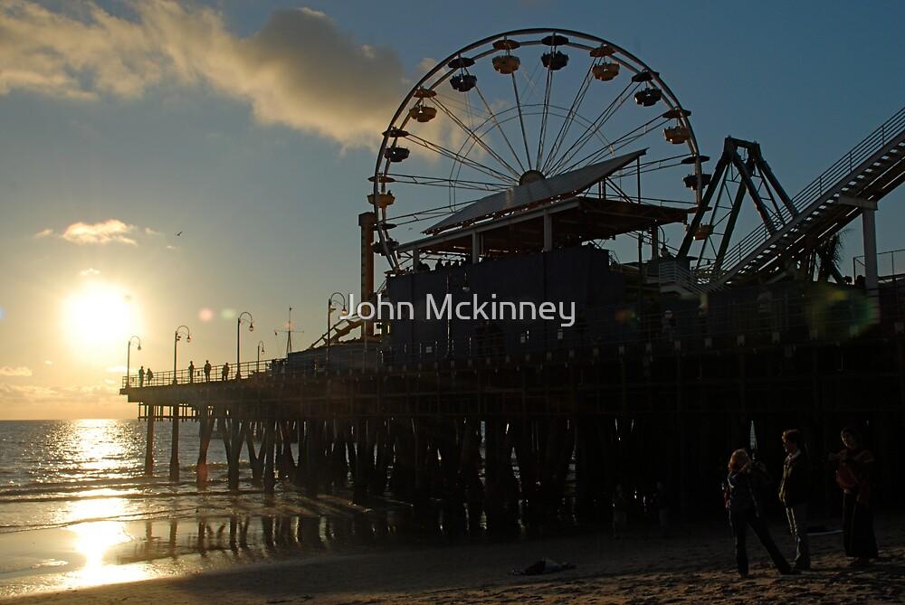 Santa Monica Pier Sunset by John Mckinney