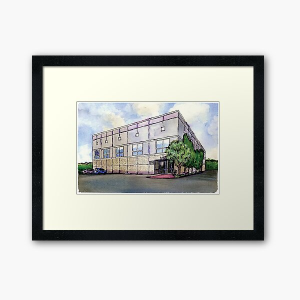 Pam Beesly Office Building Watercolor Painting Poster Dunder Mifflin Paper Company Inc. Gift Framed Art Print