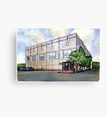 Pam Beesly Office Building Watercolor Painting Poster Dunder Mifflin Paper Company Inc. Gift Canvas Print