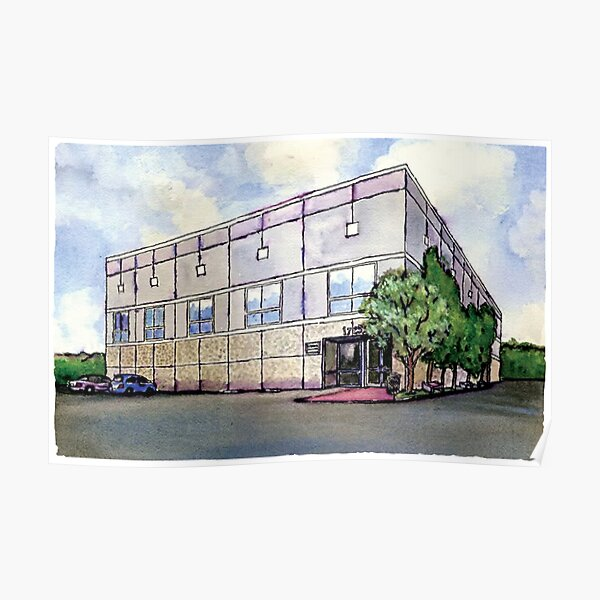 Pam Beesly Office Building Watercolor Painting Poster Dunder Mifflin Paper Company Inc. Gift Poster