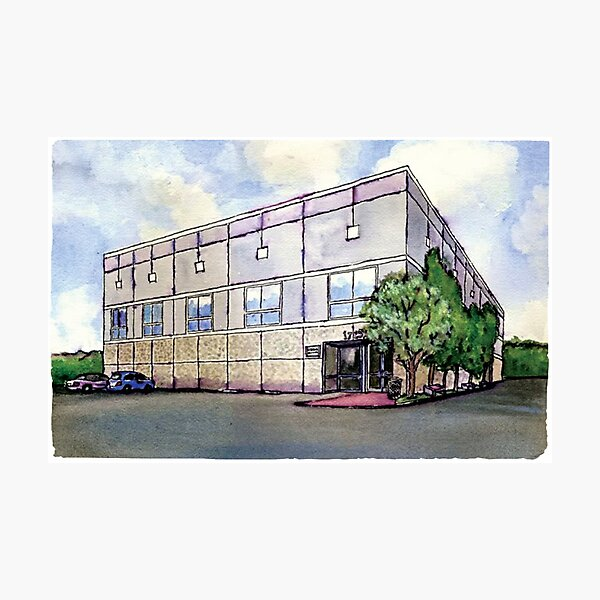 Pam Beesly Office Building Watercolor Painting Poster Dunder Mifflin Paper Company Inc. Gift Photographic Print
