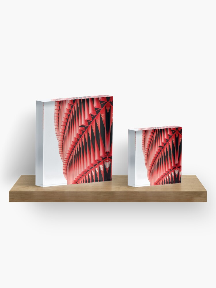 Alternate view of Red and white structure background design Acrylic Block
