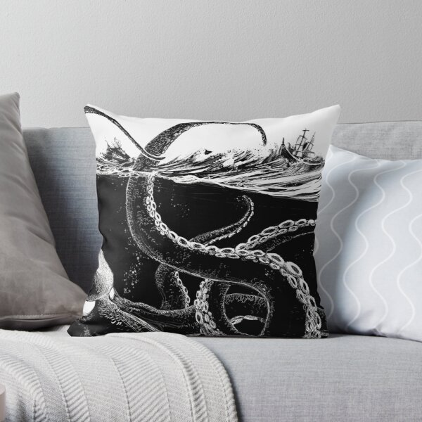 Kraken Rules the Sea Throw Pillow