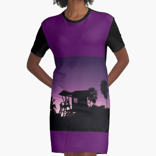 Baywatch tower silhouette sunset Graphic T-Shirt Dress