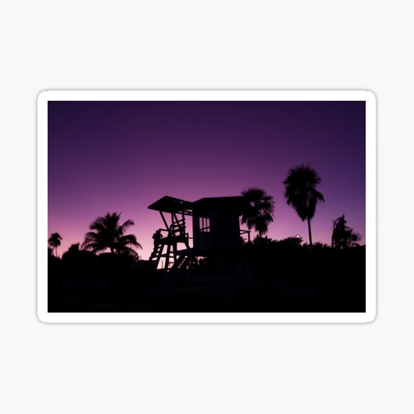 Baywatch tower silhouette sunset Sticker