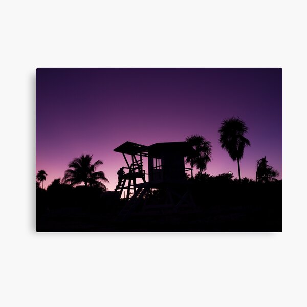 Baywatch tower silhouette sunset Canvas Print