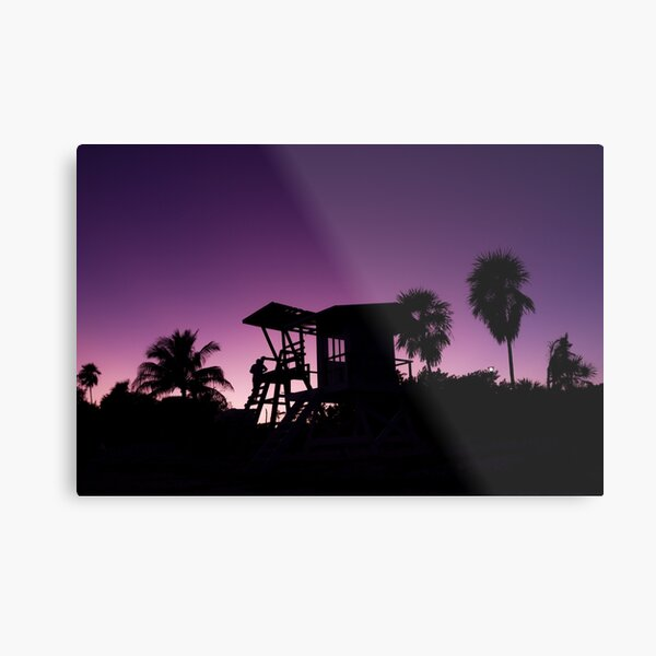 Baywatch tower silhouette sunset Metal Print