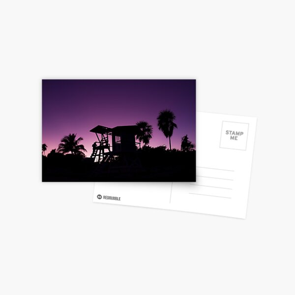 Baywatch tower silhouette sunset Postcard