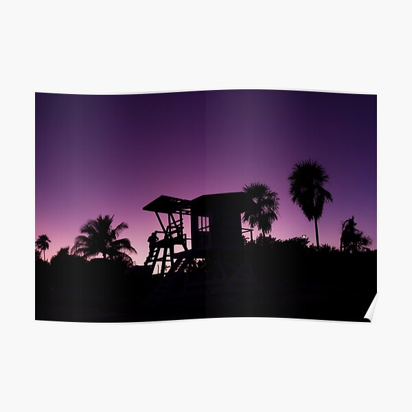 Baywatch tower silhouette sunset Poster