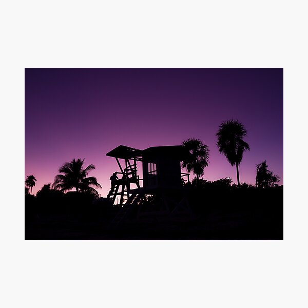 Baywatch tower silhouette sunset Photographic Print