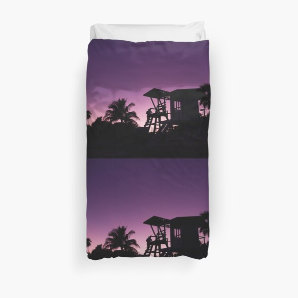 Baywatch tower silhouette sunset Duvet Cover