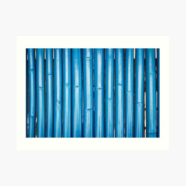 Blue bamboo canes background Art Print