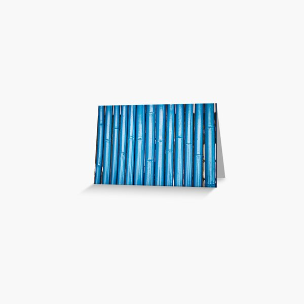 Blue bamboo canes background Greeting Card