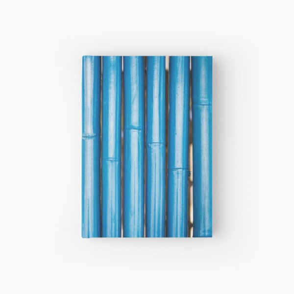 Blue bamboo canes background Hardcover Journal