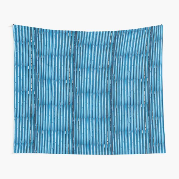 Blue bamboo canes background Tapestry