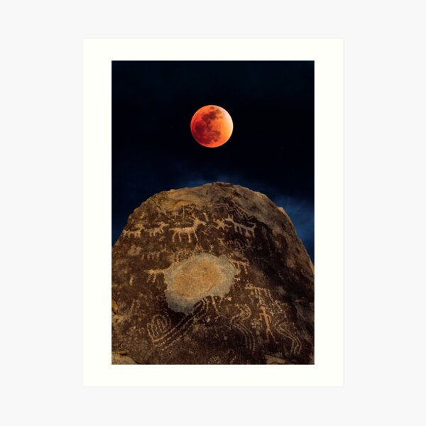 Super Blue Blood (Sailor) Moon over Petroglyph Point Art Print