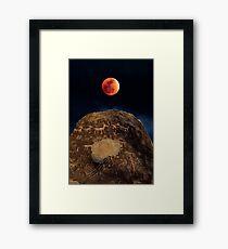 Super Blue Blood (Seemann) Mond über Petroglyph Point Gerahmtes Wandbild