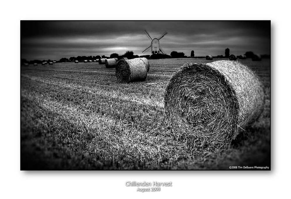 Chillenden Mill and Straw Bales in B&W by CadmannUK