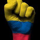 Flagge von Kolumbien auf einer angehobenen geballten Faust von jeff bartels