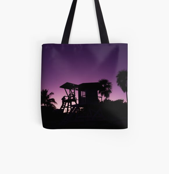 Baywatch tower silhouette sunset All Over Print Tote Bag