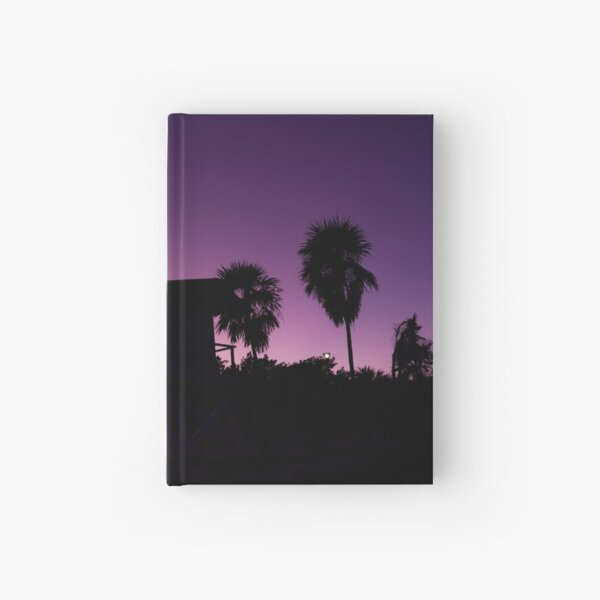 Baywatch tower silhouette sunset Hardcover Journal