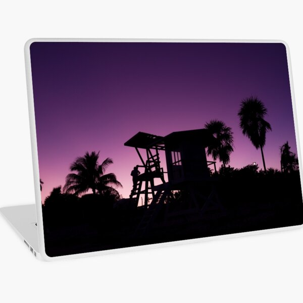 Baywatch tower silhouette sunset Laptop Skin