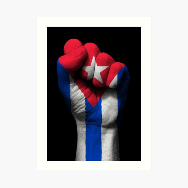 Flag of Cuba on a Raised Clenched Fist  Art Print