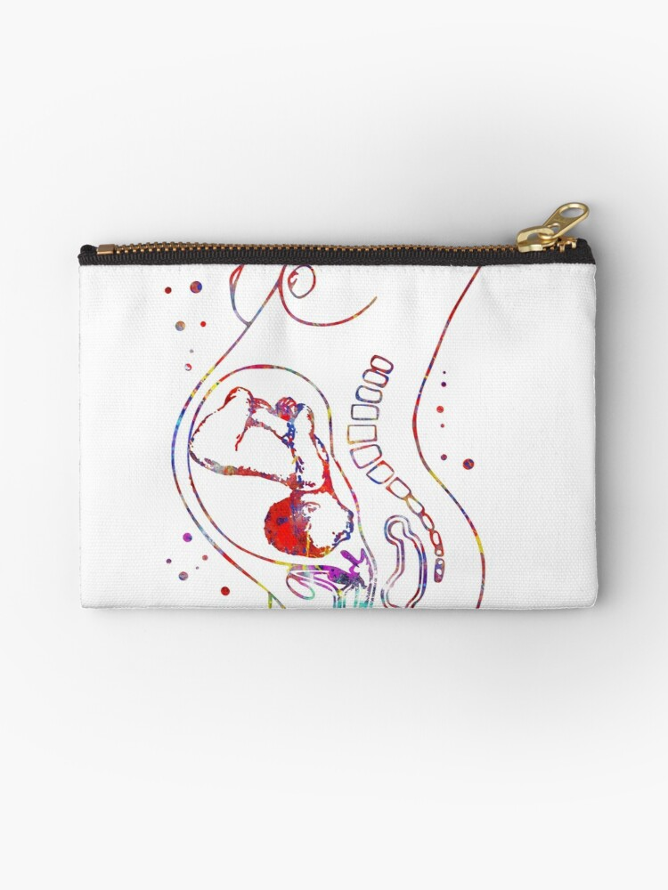 Pregnancy Pregnant Woman Anatomy Fetus Studio Pouches By