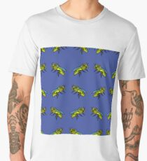Bee Seamless Pattern Isolated on Blue Background Men's Premium T-Shirt