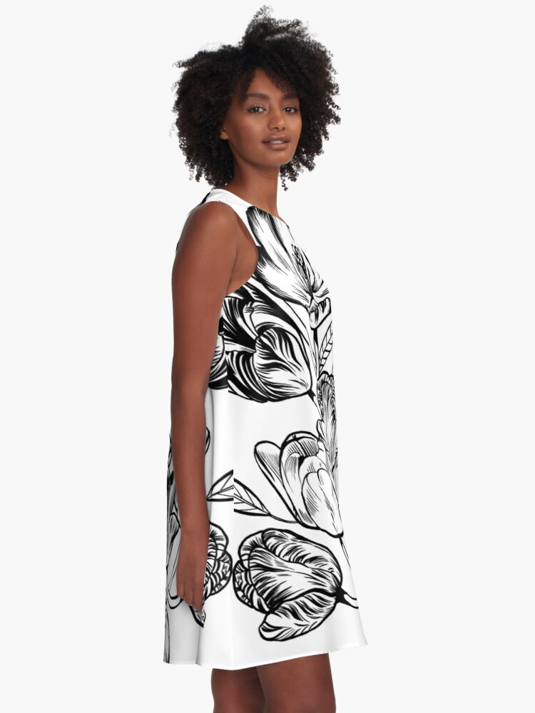 Alternate view of Graphic Botanicals A-Line Dress