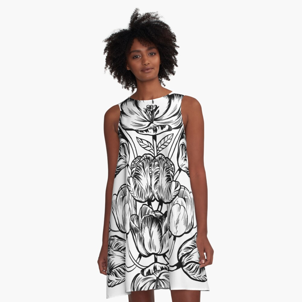 Graphic Botanicals A-Line Dress