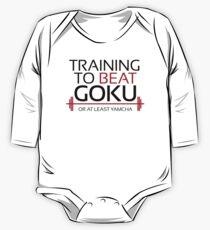 Body de manga larga para bebé Entrenamiento para vencer a Goku - Yamcha - Black Letters