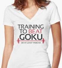 Training to beat Goku - Yamcha - Black Letters Women's Fitted V-Neck T-Shirt