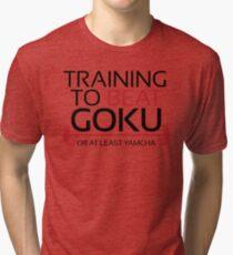 Training to beat Goku - Yamcha - Black Letters Tri-blend T-Shirt