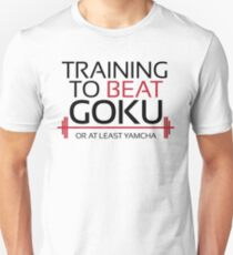 Training to beat Goku - Yamcha - Black Letters Unisex T-Shirt