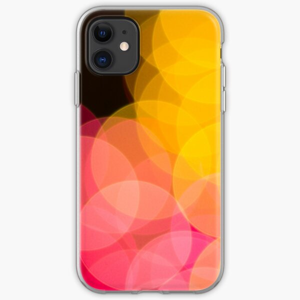 Bokeh abstract pink yellow circles iPhone Soft Case
