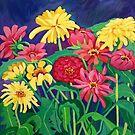 Zinnias by marlene veronique holdsworth