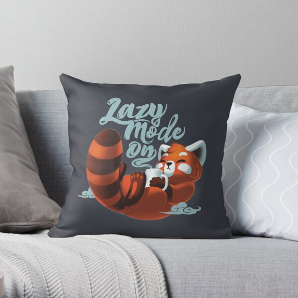 Lazy mode ON - Cute Red Panda - Fluffy Coffe Animal Throw Pillow