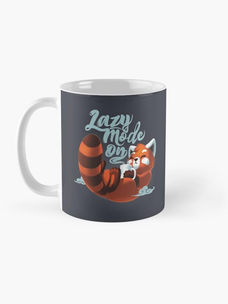 Alternate view of Lazy mode ON - Cute Red Panda - Fluffy Coffe Animal Mug