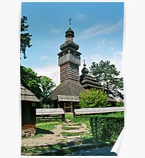 And ancient Ukrainian wooden church Poster