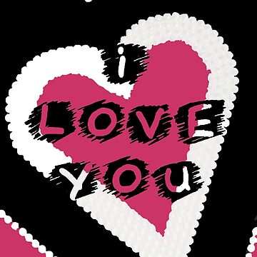 I Love You Heart in Pink and Black by Heatherian