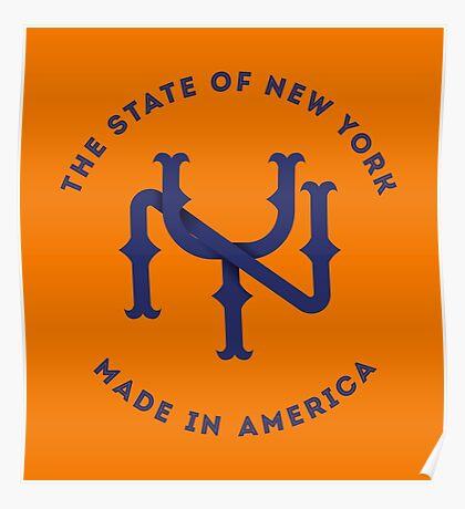 NY New York State Monogram Blue Poster